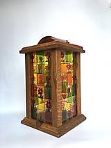 - Drevený lampáš, maľované na skle -  - 7504137_