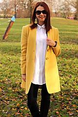 Kabáty - Vlnený kabát dlhý - žltý - 7504332_