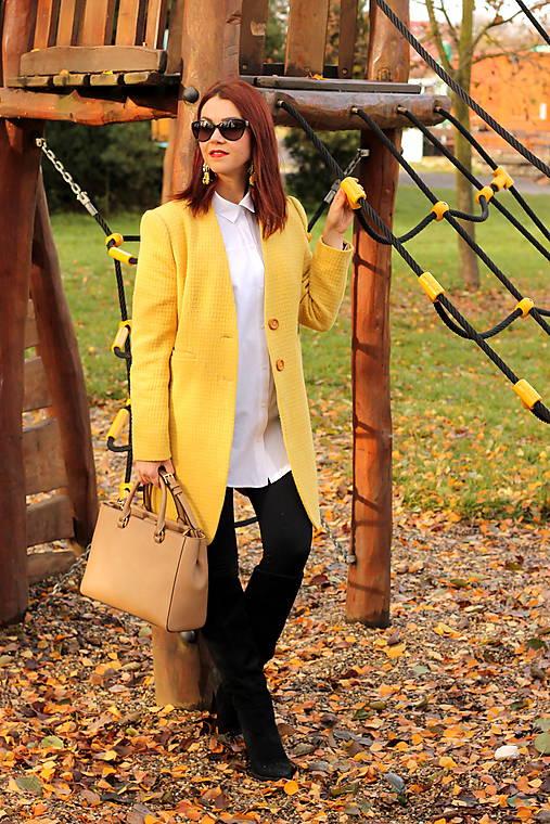 Vlnený kabát dlhý - žltý