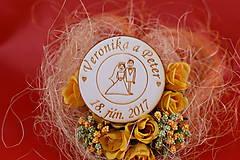 Drevená svadobná magnetka ako darček pre hosti 62