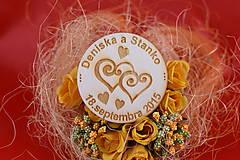 Darčeky pre svadobčanov - Drevená svadobná magnetka ako darček pre hosti 61 - 7502493_