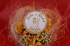 Drevená svadobná magnetka ako darček pre hosti 57