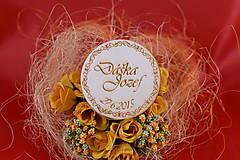 Darčeky pre svadobčanov - Drevená svadobná magnetka ako darček pre hosti 54 - 7502525_