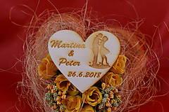 Darčeky pre svadobčanov - Drevená svadobná magnetka ako darček pre hosti 63 - 7502570_