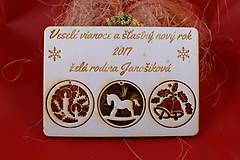 Dekorácie - Drevený vianočný pozdrav 1 - 7502635_