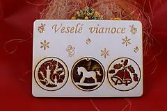 Dekorácie - Drevený vianočný pozdrav 2 - 7502675_