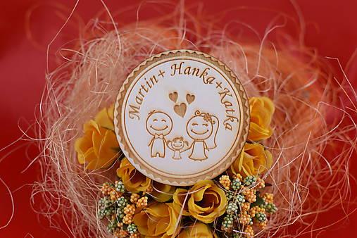 Drevená svadobná magnetka ako darček pre hosti 59