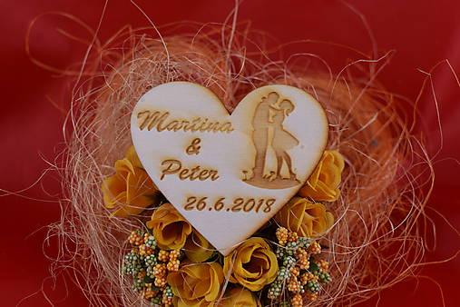 Drevená svadobná magnetka ako darček pre hosti 63