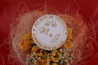 Darčeky pre svadobčanov - Drevená svadobná magnetka ako darček pre hosti 55 - 7502546_