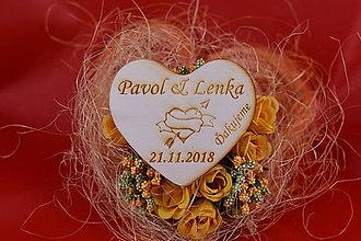 Darčeky pre svadobčanov - Drevená svadobná magnetka ako darček pre hosti 64 - 7502593_