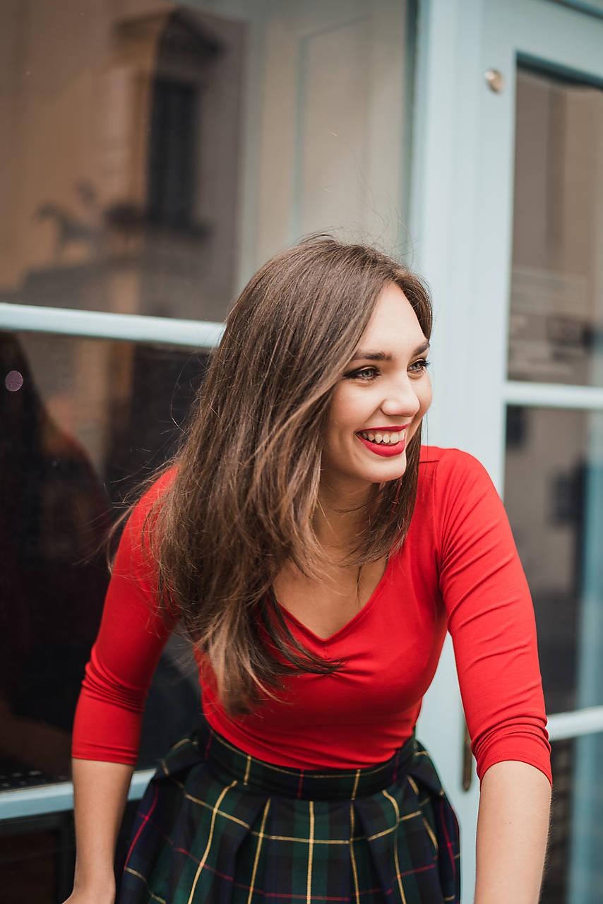 BAMBOO Agnes (zřasený výstřih) červené