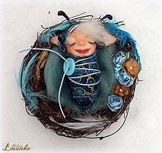 Dekorácie - ♥ Elfie bábatienko Modráčik ♥ - 7508609_