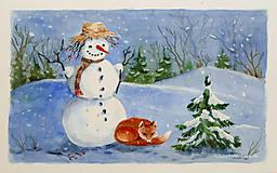 Obrazy - Snehuliak - akvarel - 7506652_