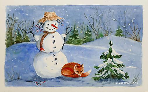 Snehuliak - akvarel