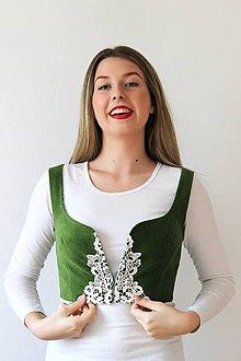 Topy - zelená folk vestička - 7508792_