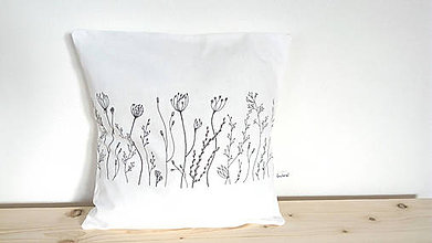Úžitkový textil - Vankúš s ručnou perokresbou - trávy č.3 - 7506596_