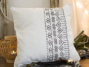 Úžitkový textil - Biely čičmany - ručna potlač 45x45 - 7510181_