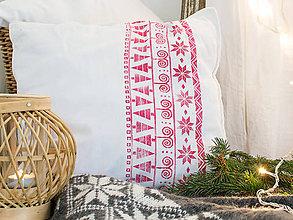 Úžitkový textil - Vianočný vankúš - ručná potlač červená 45x45 - 7510298_
