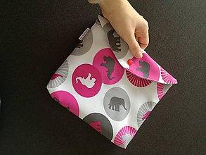 Detské doplnky - Púzdro na plienky- Ružové slony v šedej - 7509995_