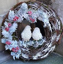 Dekorácie - Vianočný s vtáčikmi - 7512821_