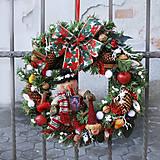 Dekorácie - Veľký vianočný veniec na dvere, rustikálny so snehuliakom - 7514603_