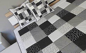 Úžitkový textil - prehoz 220 x 220 cm  čierno - biela kombinácia - 7515381_