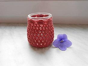 Svietidlá a sviečky - Háčkovaný svietnik Ruženka - 7513905_