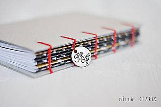 Papiernictvo - Ručne sitý zápisník - Black & White - 7512470_