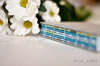 Papiernictvo - Ručne šitý zápisník - Romantický modrý - 7513374_