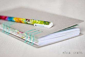 Papiernictvo - Ručne sitý zápisník - Mentolový - 7514485_