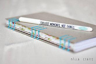 Papiernictvo - Ručne sitý zápisník - Tyrkysový - 7515551_
