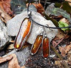 Sady šperkov - Prívesok a Náušnice s Jantárom - 7512872_