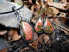 Sady šperkov - Prívesok a Náušnice s Unakitom - 7513066_