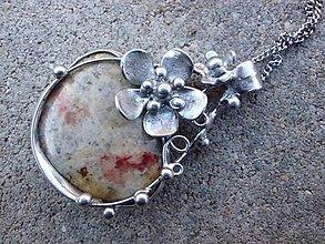 Náhrdelníky - cínový náhrdelník - Achát krajkový - 7511272_
