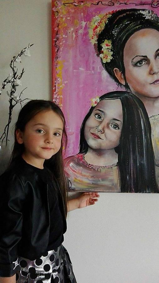 Obrazy - Portét- matka s dcérou - 7516054_