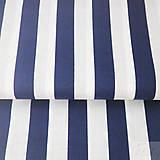 Textil - široké modré pásiky, 100 % bavlna, šírka 140 cm, cena za 0,5 m - 7515610_