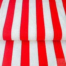 Textil - široké červené pásy, 100 % bavlna, šírka 140 cm, cena za 0,5 m - 7515588_