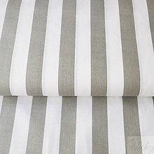 Textil - široké sivé pásiky, 100 % bavlna, šírka 140 cm, cena za 0,5 m - 7515626_