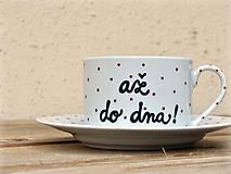 Nádoby - Maľovaná šálka s podšálkou na kávu - 7513904_