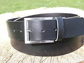 Doplnky - Čierny kožený opasok- šírka 4cm (štýl 1) - 7516163_