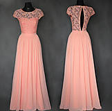 Spoločenské šaty s holým chrbátom farba lososová