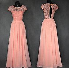 Šaty - Spoločenské šaty s holým chrbátom farba lososová - 7513625_