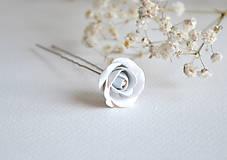 Iné šperky - Sponka, vlásenka, ruža, fimo - 7512073_
