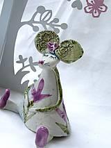 Dekorácie - figúrka - myš ružová s tulipánom - 7512636_