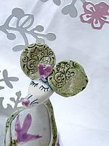Dekorácie - figúrka - myš ružová s tulipánom - 7512637_
