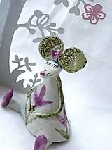 Dekorácie - figúrka - myš ružová s tulipánom - 7512638_