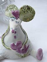 Dekorácie - figúrka - myš ružová s tulipánom - 7512643_