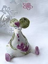 - figúrka - myš ružová s tulipánom  - 7512644_