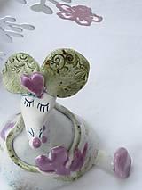Dekorácie - figúrka - myš ružová s tulipánom - 7512645_