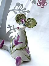 Dekorácie - figúrka - myš ružová s tulipánom - 7512685_